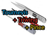 Triwing + tournevis + pince